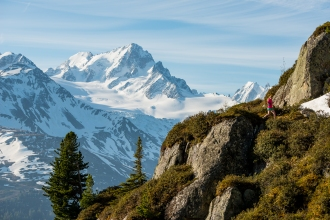 Chloe Lanthier, Trail running in the Aiguilles Rouges, near Chamonix, France.